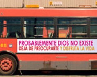 Onibus em Barcelona - Cartaz atéu.