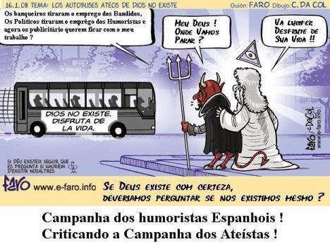 Ateístas fazem uma campanha ridícula em Barcelona - Espanha.