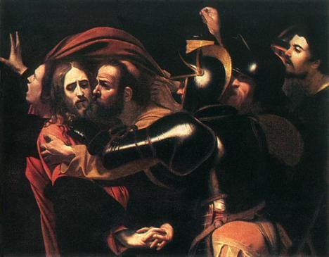 Jesus é preso e Pedro o Protege - Caravágio.