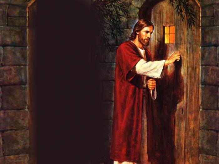 Algu m bate porta enchei vos do esp rito santo de for Jesus a porta