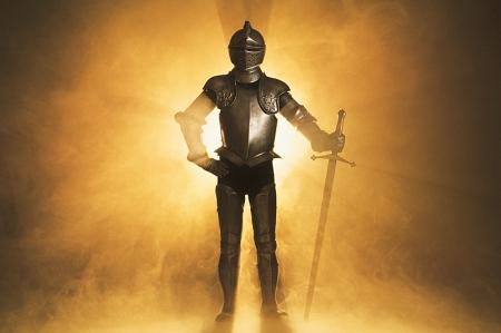 Knight posing in armor